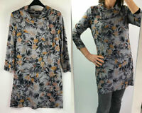 M&Co Womens Grey Marl Floral Soft Touch Jersey Cowl Neck Long Tunic Top