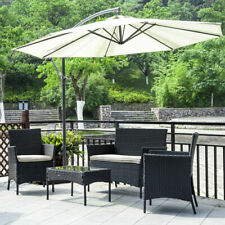 4 Pieces Outdoor Patio Furniture Rattan Chair Wicker Sofa Set w/ Coffee Table