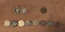 Morgan Liberty V Nickel Coin Jewelry Set-Bracelet, Earrings & Pendant! Vintage