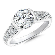 Solid Real 14K White Gold Rings 2.15 Ct Round Solitaire Diamond Engagement Ring