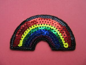 RAINBOW IRON ON BADGE SEW ON PATCH EMBROIDERED APPLIQUE X 1 SEQUIN