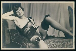 French nude woman in bed lingerie Grundworth original old c1925 photo postcard