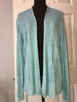 EILEEN FISHER aqua open front cardigan sweater  women's XL