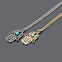 Sweater Chain Hamsa Hand Of Fatima Turquoise Pendant Necklace Charm JewelryLHGU