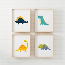 Set of 4 Dinosaur Nursery Bedroom Playroom A4 Poster Prints Po170