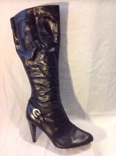 Venturini Black Knee High Leather Boots Size 39