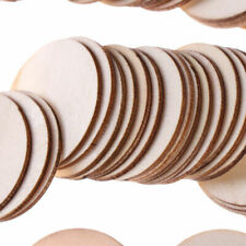 50x Crafts Slice Blank Round Pieces Unfinished Discs DIY Wood Wooden Natural