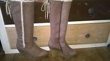 Daniel Footwear ladies UK6 EU39 US8 Brown Suede knee high luxury wedge boots