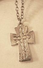Handsome Swirl Etched Shiny Mid-Sized Silvertone Cross Pendant Necklace
