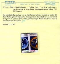 Varietà Repubblica 2008 metà francobollo di Pechino certificato Biondi