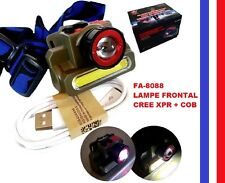 Lampe frontale CREE XPR  LED + Cob rechargeable  USB Puissante Forte