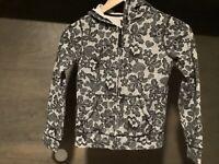 Old Navy Sweatshirt ZIP UP Youth SIZE MEDIUM (8) LONG SLEEVE BLACK WHITE