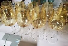 """Set of 9 Beautiful iridescent yellow  crystal  Glass water goblets 9.25"""" tall"""