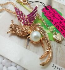 Betsey Johnson Pearl Phoenix Rose Gold Pendant Chain Necklace Free Gift Bag