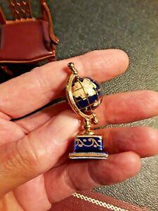 """Dollhouse Miniatures Reutter Porcelain WORLD GLOBE  2"""" TALL WITH BRASS MOUNTS"""