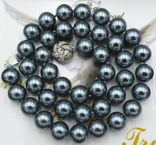 """8mm AAA+ South Sea Dark gray Shell Pearl Necklace 18"""" LL001"""