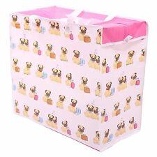 Pug Dog Design Storage Laundry Bag 48cm High Toys Clothes Luggage Zipped