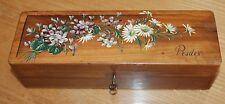 Ancienne boite a gant en bois a décor de fleurs souvenir de prades