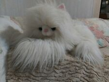 "Rare Long Hair White Plush Very Fluffy Cat Stuffed Animal~Large 24"" Htf"