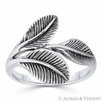 Triple-Laurel Leaf Victory Charm Right-Hand Ring in Oxidized 925 Sterling Silver