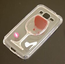 For Samsung Core Prime G360 - Clear Red Wine Glass TPU Rubber Silicone Skin Case