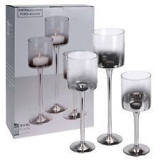 3x Tall Silver Glass Candle Holder Large Centrepiece Tea-Light Hurricane Hi-Ball
