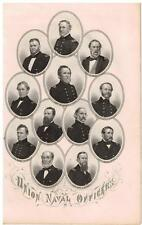 Union Naval Officers 1864 Steel Engraving Print Rare Original Horace Greeley