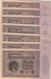 Ro. 82 100.000 Mark 1923 7 Pièce
