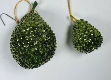 2 Vintage Pear 🍐 Sequins Beaded Stud Fruit Ornaments
