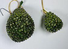 2 Vintage Pear 🍐 Sequins Beaded Stud Fruit Ornaments