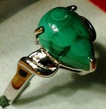 Pear cut malachite set in solid sterling silver ring setting. SITE CLOSING SALE