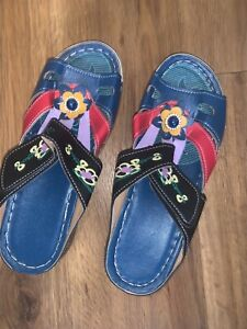 Sandals Women's Multi Color Shoes Size 7Velcro Fastening Light Weigh NEW