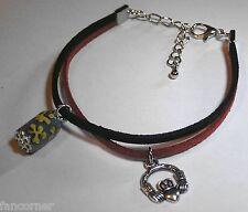 Buffy bracelet double suedine breloque symbole claddagh charm bracelet