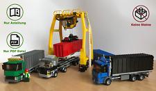 LEGO Hafen Logistik Container LKWs mit Kran - MOC Bauanleitung, keine Steine