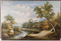 BEAUTIFUL OIL ON CANVAS LANDSCAPE PAINTING RIVER TREES SIGNED HILDA