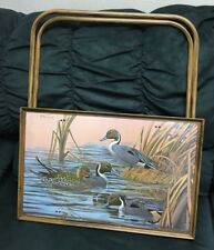 Vintage Ducks Lake TV Wood Tray Lunch With Folding Metal Legs J MacLeod Painted