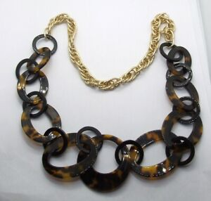"""28"""" Graduated Tortoise Shell Resin Rings Necklace~Gold Tone Etched Twisted Rope"""