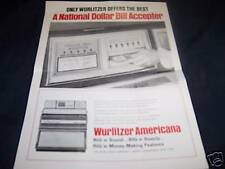 Vintage JUKEBOX Advertisement WURLITZER Bill Accepter