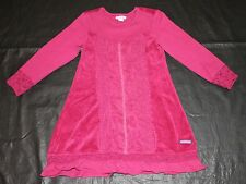 Naartjie Wine Velour Mesh Lace Cranberry Dress Girls Winter sz L 6 yrs Warm