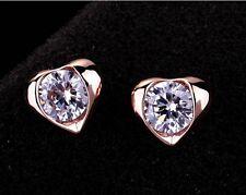 Lujo Elegante Corazón Pendientes De Damas Cristal Oro Dorado IDEA DE REGALO