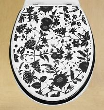 Toilet Seat Novelty Funky Black & Cream Flowers High Gloss Lacquered Mdf