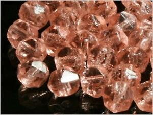 Lot (50) 5mm Vintage Czech faceted pink English cut glass beads