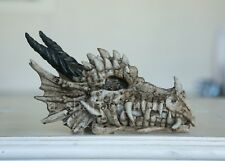 "Dragon Skull 8"" Statue Figurine 'Bone' Finish Gothic Fantasy Superb Detail"
