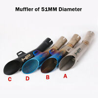 38-51mm Motorcycle Scooter Exhaust System Muffler Tail Pipe No DB Killer Slip On