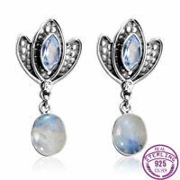 925 Silver Aquamarine Gems Natural Moonstone Drop Dangle Hook Bohemia Earrings