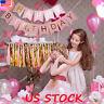 Pastel Happy Birthday Bunting Garland Gold Alphabet Hanging Banner Party Decor