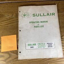 Sullair 175 185 Cfm Air Compressor Parts Operation Maintenance Manual Book