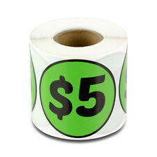 5 Dollars Stickers Store Money Garage Sale Retail Flea Market Price Labels (1PK)