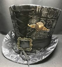 SDL Steampunk gris imprimé vieux Compas instruments Top Hat avec Horloge Papillon Broche 59 cm