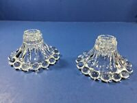 Vintage, 2 - Anchor Hocking Glass Bubble Boopie Candlestick Holders
